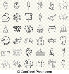Dessert icons set, outline style