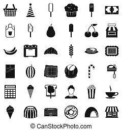 Dessert icons set, simple style