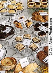 dessert, in, panetteria, finestra