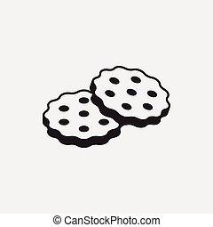 dessert, koekje, pictogram