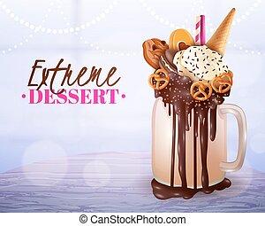 dessert, lumière, arrière plan flou, affiche, extrême