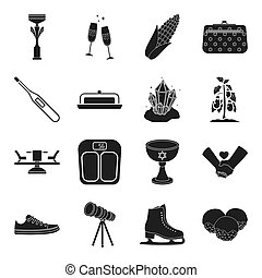 dessert, medicine, minerals, plants and other web icon in black style. alcohol, religion, sports icons in set collection.
