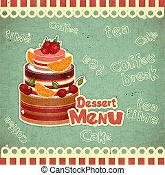 dessert, menu, coperchio, retro