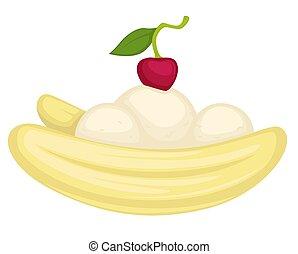 dessert, mousse, banaan, ijs, kers, of, room