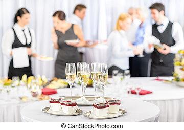 dessert, partecipanti, champagne, riunione