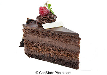 dessert - piece of chocolate cream cake on a white...