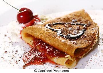 dessert, plaque, witn, crêpes, et, fraise