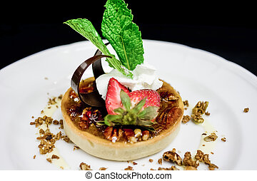 dessert, plated, restaurant