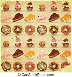 dessert, retro, fondo