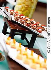 dessert, ristorante, buffet, tavola