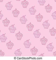 dessert, seamless, cupcake, vector, ontwerp, achtergrond, mooi en gracieus