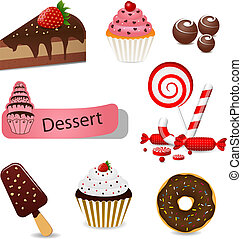Dessert set - Vector set with different types of sweets