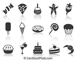 dessert, set, iconen