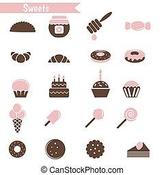 dessert, set, icons.