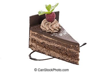 dessert - piece of chocolate cream cake on a white...