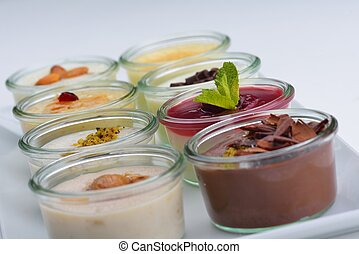 dessert - tasty dessert glass cup with fruits and chocolate
