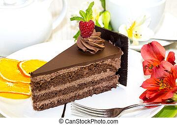 dessert, su, uno, tavola, con, tè