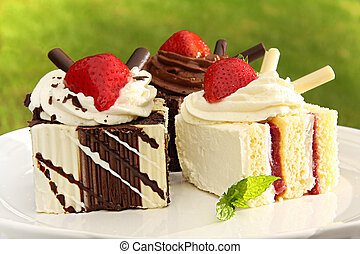 Dessert - Summer chocolate and strawberry dessert cakes.