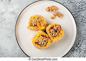 Dessert sweetened polenta - Sweet Rolls of Polenta with...