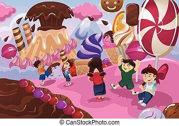 dessert, terra, gioco, bambini