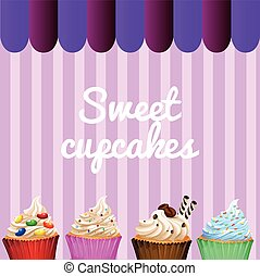 Dessert theme with decorated cupcakes