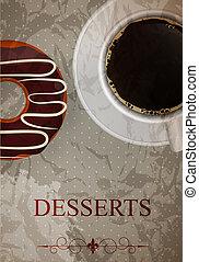 dessert, vecteur, menu