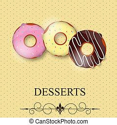 dessert, vector, menu