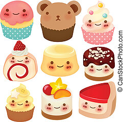dessert, verzameling, schattig