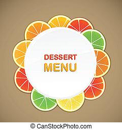 dessert, vettore, sagoma, menu
