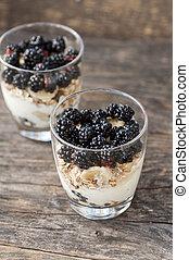 Dessert with blackberries