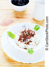 dessert with chocolate risotto