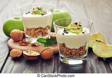 Dessert with yogurt and granola