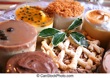 Desserts #3 - A close-up of various sweet desserts on a...