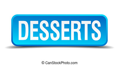 desserts blue 3d realistic square isolated button