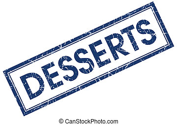 desserts blue square stamp isolated on white background