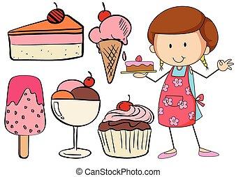 desserts, boulanger, ensemble, boulangerie