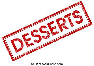 desserts, carré rouge, timbre, isolé, blanc, fond
