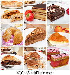 Desserts Collage - Collage of Nine Various Pies, Dessert and...
