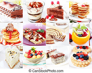 Collection of different delicious desserts amd cakes