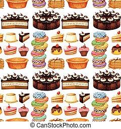 desserts, différent, seamless, espèce