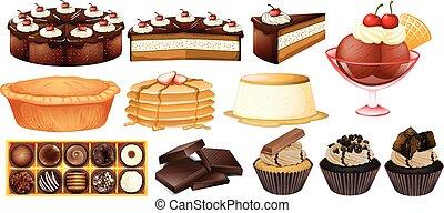 desserts, différent, types
