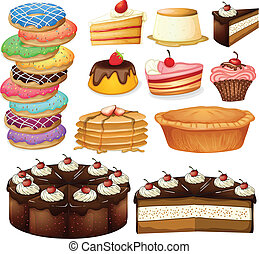 Desserts - Illustration of many different desserts