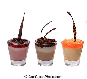 Desserts in a glass on the white background