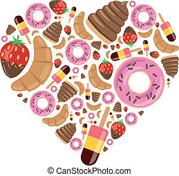 desserts in heart