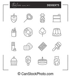 Desserts, Pastries, Sweets and more thin line icons set, flat design.