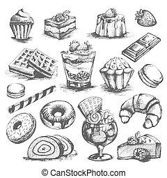 desserts, patisserie, vecteur, boulangerie, gâteaux, petits gâteaux, icônes, ensemble, croquis