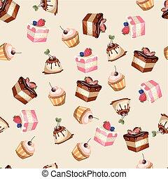Desserts seamless pattern.