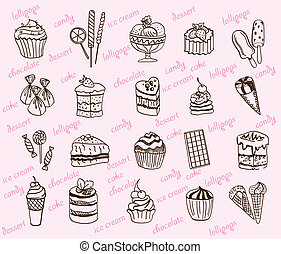 desserts. set of vector sketches on a gray background ...