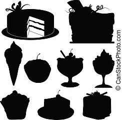 desserts, silhouettes