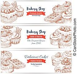 Desserts sketch bakery shop banners set